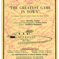 "The Reston Players presents ""The Greatest Game in Town"" an original musical comedy about the stock market"